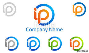 ip design i p i p letter vector logo design stock image and royalty