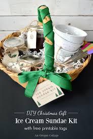 Ice Cream Gift Basket Diy Ice Cream Sundae Kit Gift Free Printable Tags