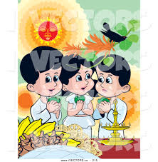 vector graphic of a trio of sinhalese children celebrating new