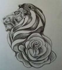 lion and rose flower tattoo design png