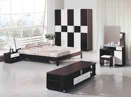ravishing black and white bedroom with high windows and light oak