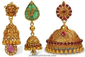 antique gold jhumka earrings bhima jewellers jhumka designs jewellery designs