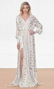 gold maxi dress xo fairytale white gold feather sleeve plunge v nec