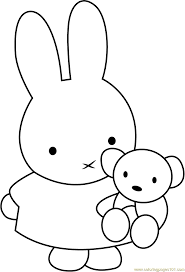 miffy with teddy bear coloring page free miffy coloring pages
