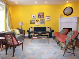 Yellow Fireplace Interior Design Enticing Yellow Living Room With Tufted Leather