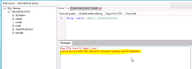 Sql Server Drop Table If Exists by Configuration Wizard Error Cannot Drop The Table U0027dbo Statusinfo