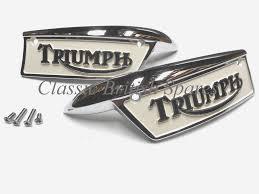 triumph gas tank painted badge emblem set 82 9700 82 9701 1969 79 t100