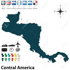 Map Of Middle America by Vector Of Political Map Of Central America Set With Buttons Flags