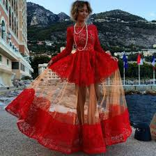 Red And Black Party Dresses Lace Long Sleeve Prom Dresses 2017 Party Dresses Two Pieces Halter