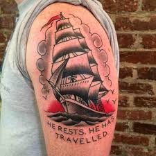 traditional clipper ship by zane pendergast of safe house tattoo