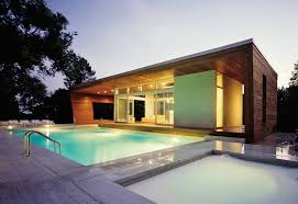 Simple Pool House Outdoor Pool In Contemporary House Modern House Design With