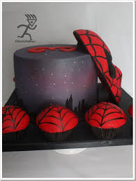 spectacular spider man cake and cupcakes between the pages
