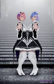 rem rem ram cosplay from anime re zero kara hajimeru isekai seikatsu