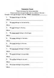 english worksheets possessive nouns
