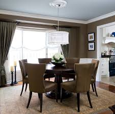 dining rooms white drum chandelier round dining table brown chair