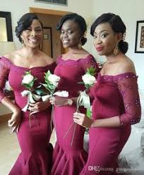 Long Sleeve Wine Red Satin Bridesmaid Dresses 2017 Off The