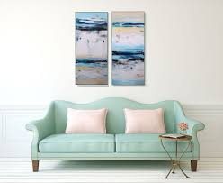 Living Room Art Sets Large Abstract White And Blue Canvas Art Original Wall Art