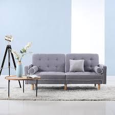 amazon com mid century modern splitback tufted linen fabric futon