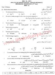 dae ia 2015 past papers mechanical 2nd year applied physics