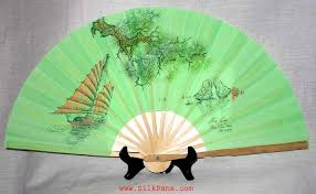 silk fan green silk fan