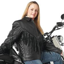 ladies u0027 solid black leather motorcycle jacket with fringe only a