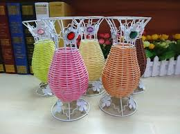 Rattan Vases Rhinestone Beads Mixed Rattan Wire Flower Basket Vase Vases