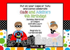 superhero ballerina birthday invitation for twins or siblings