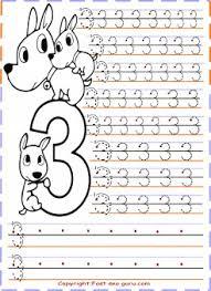 kindergarten number 3 tracing worksheets printable coloring