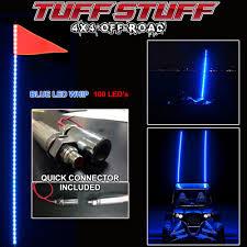 led light whip for atv tuff stuff led whip 6 w quick connect mount flag blue tuff
