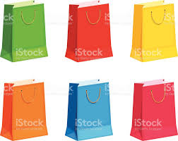 set of colorful gift or shopping bags vector illustration stock