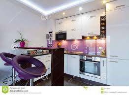 Purple Kitchen White And Purple Kitchen With Spotlights Stock Images Image