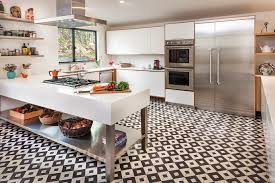 Black And White Kitchen Transitional Kitchen by Download Black And White Floor Tile Kitchen Gen4congress Com