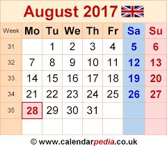 calendar august 2017 uk bank holidays excel pdf word templates