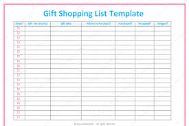 gift shopping list gift list template word dotxes