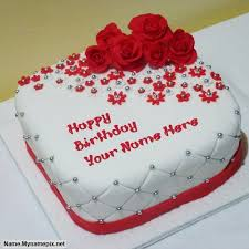Write Name On Beautiful Rose Cake Happy Birthday Cake With Name