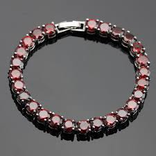 red chain bracelet images Round red created garnet silver color link chain bracelet for jpg