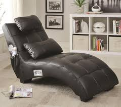 Upholstered Chaise Lounge Coaster 550018 Black Faux Leather Upholstered Chaise Lounge With