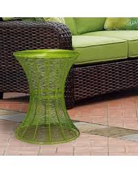 great deal on adeco outdoor round iron wire side table bright