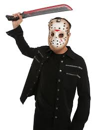 friday the 13th jason voorhees mask and machete costume kit hot