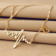 aliexpress heart necklace images 2016 hot simple wave heart necklace chic ecg heartbeat gold jpg