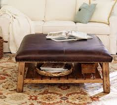 Leather Benches For Sale Caden Leather Square Ottoman Pottery Barn
