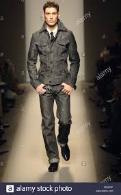 dark hair with grey models milan bottega veneta menswear ready to wear double denims model