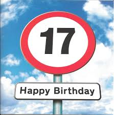 twizler 17th birthday card for roadsign 17 year