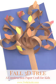 fall 3d construction paper tree autumn crafts for kids