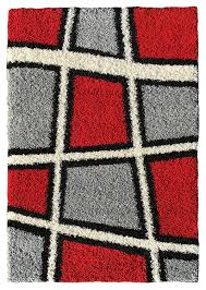 Grey Shaggy Rugs Amazon Com Soft Shag Area Rug 3x5 Geometric Tile Design Red Ivory