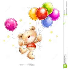 birthday greeting card cute teddy bear with the colorful balloons