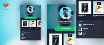 spotify profile ui ios app sketchapp tv the best free sketch