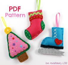 pdf pattern felt christmas ornaments xmas tree stocking iceskate