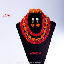 african jewelry necklace set images African beads jewelry set gold orange wedding jewelry set beads jpg