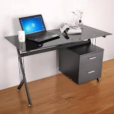 Computer Desk Workstation Black Glass Top Computer Desk Workstation W 2 Drawers